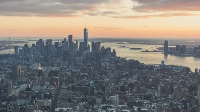 T/L Lower Manhattan skyline, New York skyline at Sunset video