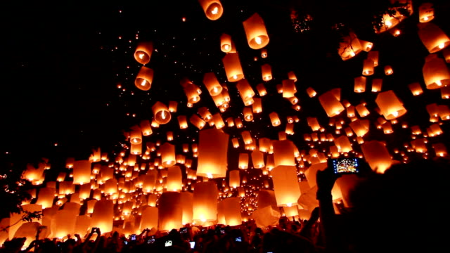 Loy Krathong and Yi Peng Festival, Chiangmai, Thailand. video