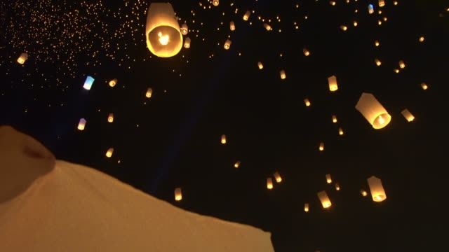 Loy krattong, yi peng festival in Thailand. Beautiful lantern floating over night sky