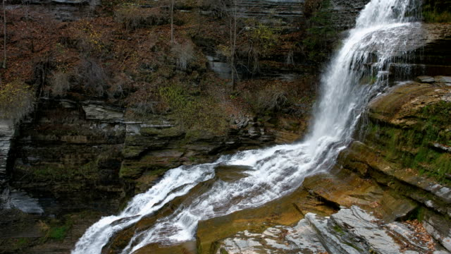 Lucifer Falls Waterfall Ithaca, Ny, Giant Waterfall Over Rocks video