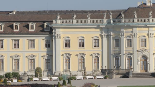 Ludwigsburg  south wing- pan right Camera pans right across southern wing of Ludwigsburg  New Main building. In Ludwigsburg, Germany. royalty stock videos & royalty-free footage