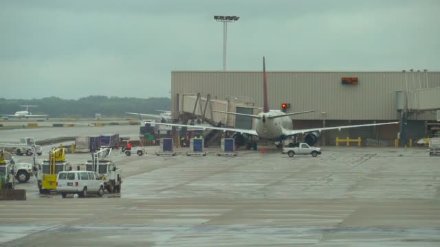 Luggage cart full with baggage at the airport video