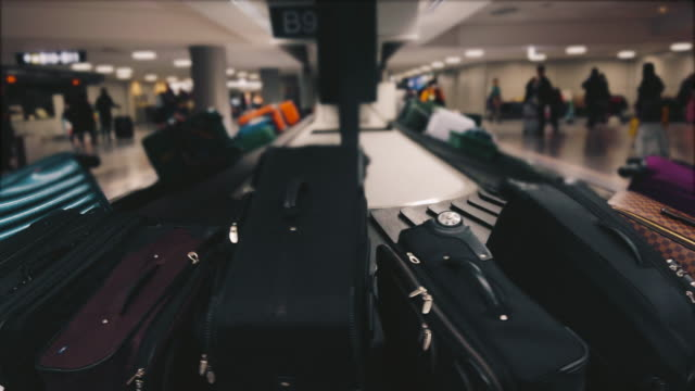 Luggage on baggage claim in the airport. video