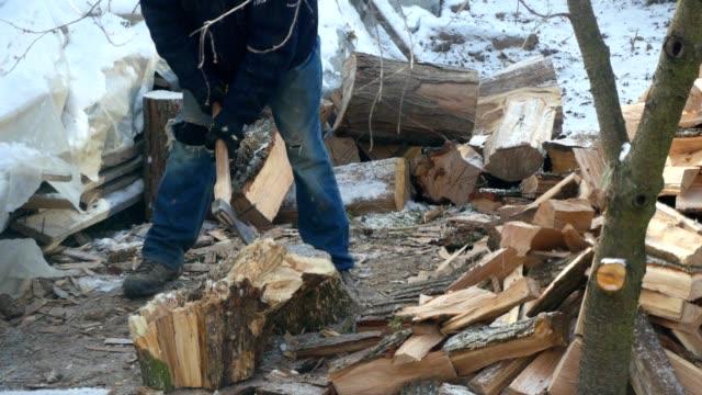 Lumberjack Chopping Wood In The Winter video