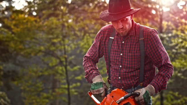 SLO MO Lumberjack starting a chainsaw video