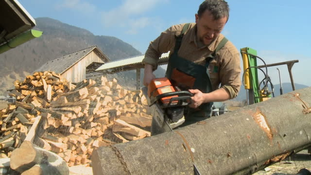 HD SLOW-MOTION: Lumberjack using chainsaw video