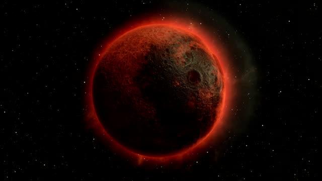 lunar eclipse, moon in space 3d illustration - układ słoneczny filmów i materiałów b-roll