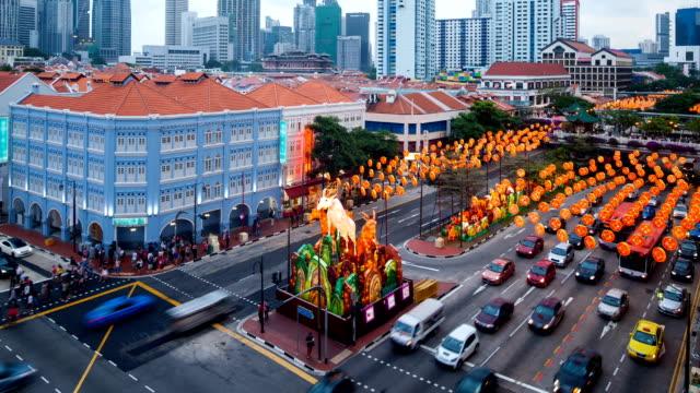 lunar new year decoration at chinatown singapore - chinese new year 個影片檔及 b 捲影像
