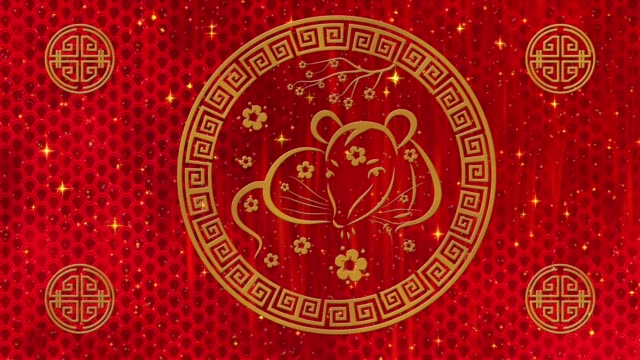 Lunar New Year, Spring Festival background with golden rat, glittering stars and clouds. Chinese new year red paper backdrop for holiday event. 3D rendering animation. Seamless loop 4k video Lunar New Year, Spring Festival background with golden rat, glittering stars and clouds. Chinese new year red paper backdrop for holiday event. 3D rendering animation. Seamless loop 4k video. . chinese new year stock videos & royalty-free footage