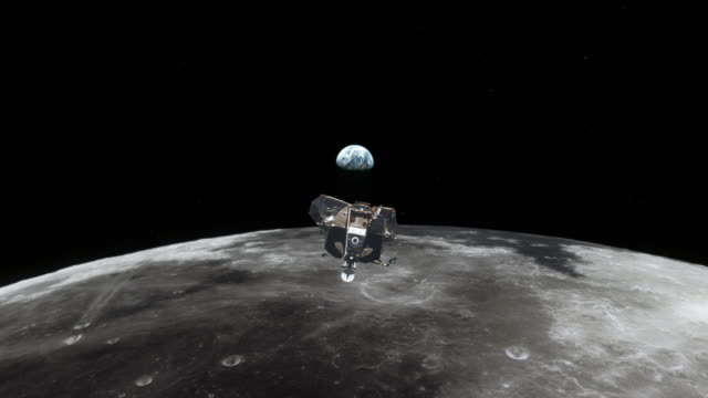 Lunar Surface with Apollo 11 Lander Juli 1969. Very close flight over the lunar surface following the NASA Lander. Computer animation based on NASA-Footage. moon stock videos & royalty-free footage