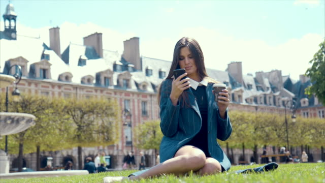 lunch in a park (slow motion) - pausa caffè video stock e b–roll