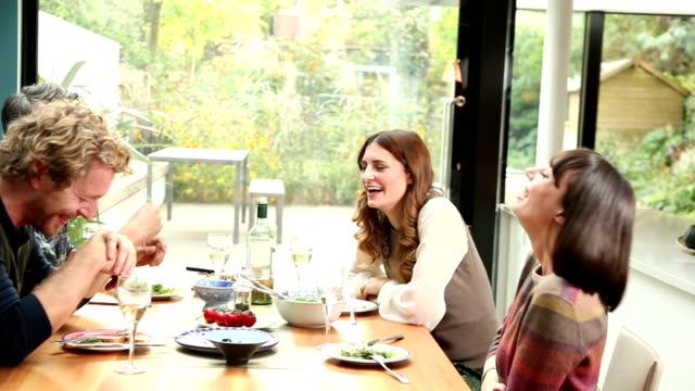 Lunch with friends, happy couples. video