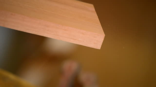 Luthier or carpentry with planer wood in action video