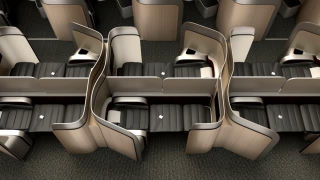 럭셔리하다 비즈니스 클래스 객실로 내륙발 메탈릭 골드 파티션 - airplane seat 스톡 비디오 및 b-롤 화면