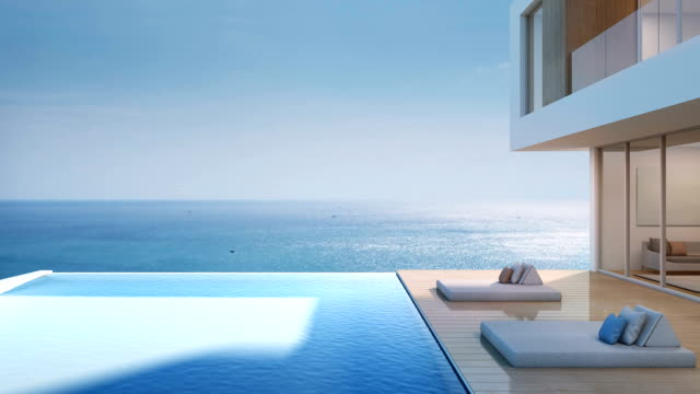 luxury beach house with sea view swimming pool, modern design of vacation home - contemporary architecture stock videos & royalty-free footage