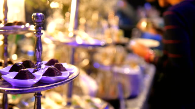 luxury catering food - buffet video stock e b–roll