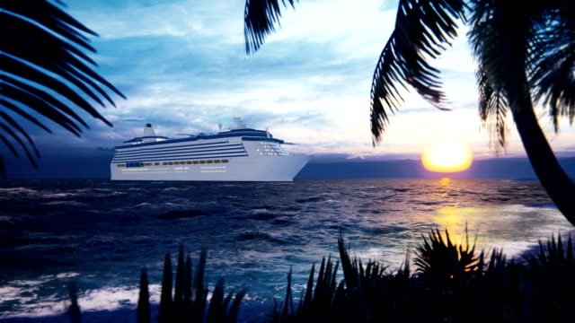 vídeos de stock e filmes b-roll de a luxury cruise ship docked near an island with palm trees and tropical plants in the wind at sunset. beautiful summer loop background. - transatlântico