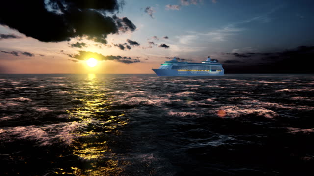 vídeos de stock e filmes b-roll de luxury cruise ship sailing from the port at sunset across the bay - transatlântico