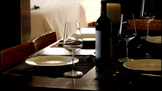 luxury dinner served on the table with glass of wine video