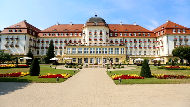 Luxury five-star grand hotel in Sopot, accommodation for rich tourists in Poland video