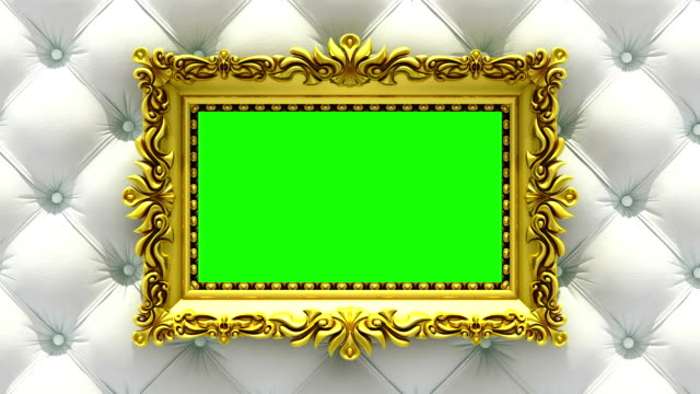 Luxury gold picture frame on background of rapidly changing textures of wood and upholstery. 3D animation, seamless loop, green screen.