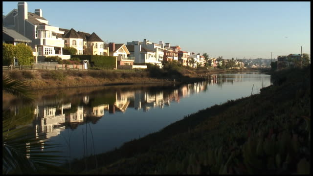 (HD1080) Luxury Line: Expensive Homes Reflected In Canal / River video