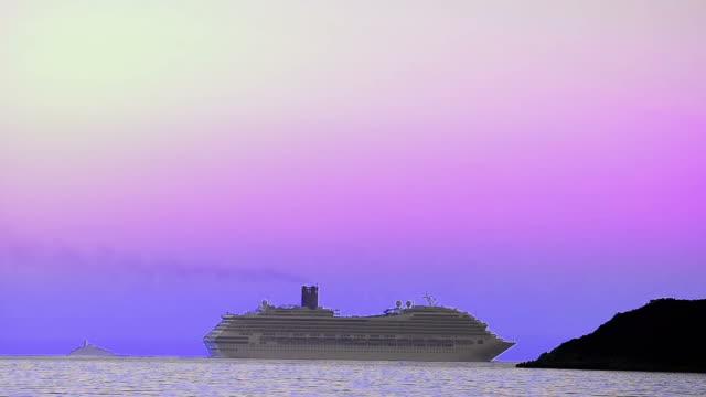 Luxury passinger cruise ship cruising into sea horizon behing the island reef video