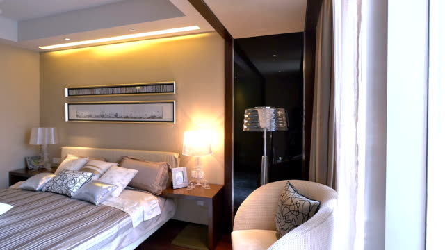 luxury sample bedroom and decoration, Real time. luxury sample bedroom and decoration, Real time. post modern architecture stock videos & royalty-free footage