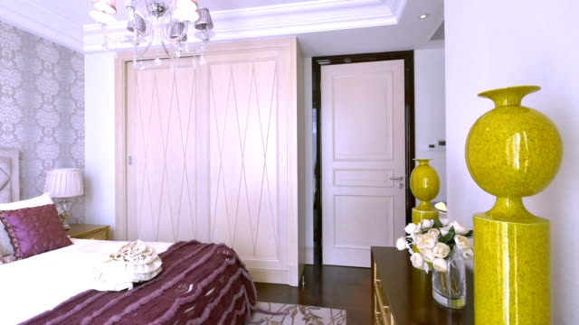 luxury sample bedroom interior and decoration, Real time. luxury sample bedroom interior and decoration, Real time. post modern architecture stock videos & royalty-free footage