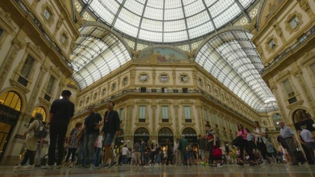 Luxury shopping mall, Galleria Vittorio Emanuele II in Milan, Italy. Steadicam shot