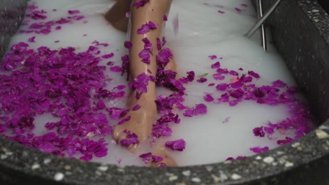 vídeos de stock, filmes e b-roll de tratamento de spa de luxo. leite e banho de flores - aromaterapia