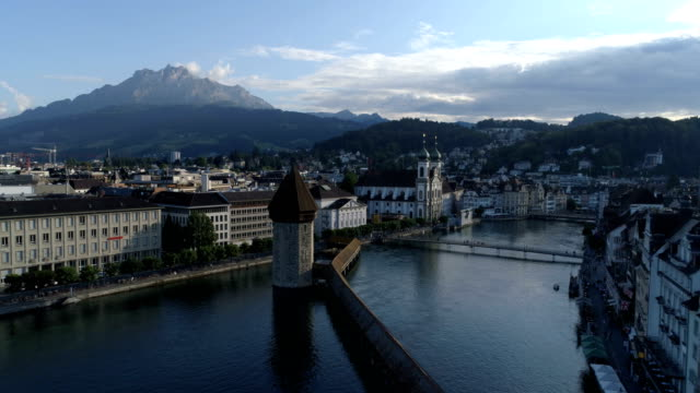 luzern back traveling - aerial 4k - medieval architecture stock videos & royalty-free footage