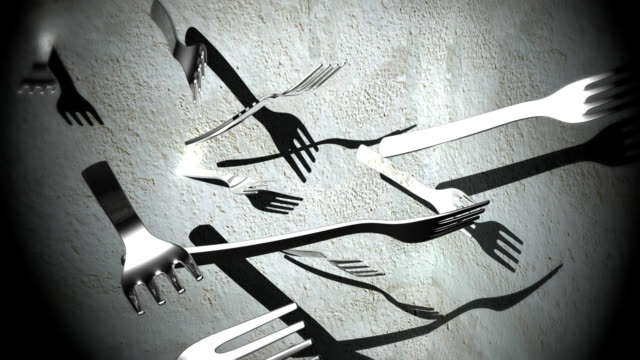 I'm hungry: flying forks hitting a slice of cake