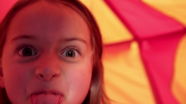 I'm the queen of the castle 4k video footage of an adorable little girl playing inside a tent at home fort stock videos & royalty-free footage