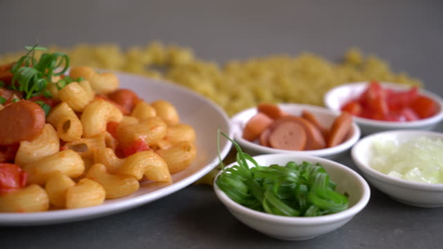 macaroni with sausage macaroni with sausage macaroni stock videos & royalty-free footage