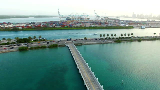 Macarthur Causeway Miami Beach Aerial video of the MacArthur Causeway Miami Beach Florida dow jones industrial average stock videos & royalty-free footage