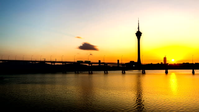 Macau,China-Nov 24,2014: The landmark of Macau: The Macau Tower at sunset, Macau, China video
