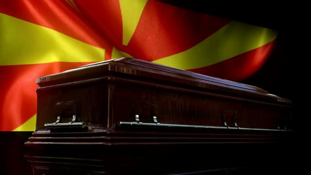 Macedonian Flag Behind Coffin