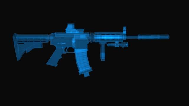 vidéos et rushes de machine gun m4 schéma wireframe. rendu 3d avec lignes de grille bleue. rotation de boucle sur fond noir. - mitrailleuse