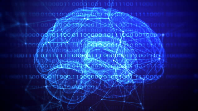 AI Machine learning artificial brain loopable backround Machine learning artificial brain with connections and financial/ scientific figures loopable background machine learning stock videos & royalty-free footage