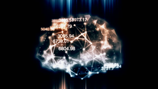 AI Machine learning artificial brain loopable backround Artificial intelligence Machine learning artificial brain with connections and financial/ scientific figures loopable background diagnostic medical tool stock videos & royalty-free footage