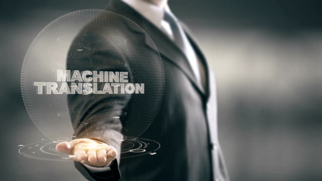 Machine Translation with hologram businessman concept video