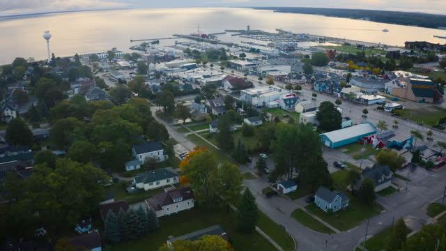 Mackinac City Michigan Drone Flyover video