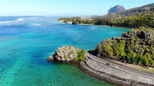 maconde point in mauritius island. aerial view - isole mauritius video stock e b–roll