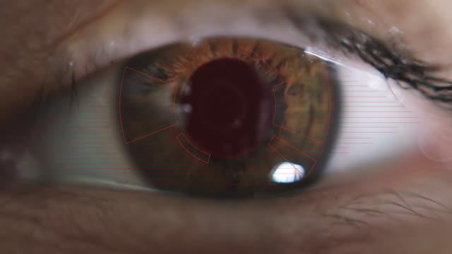 Macro eye. Red laser scanner.