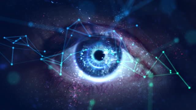 Video Macro eye with high technology (green screen)