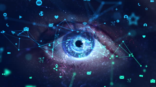 Macro eye with social media with green screen Innovation, Optometry, Biometrics, Internet, Digital Eye, green screen identity theft stock videos & royalty-free footage