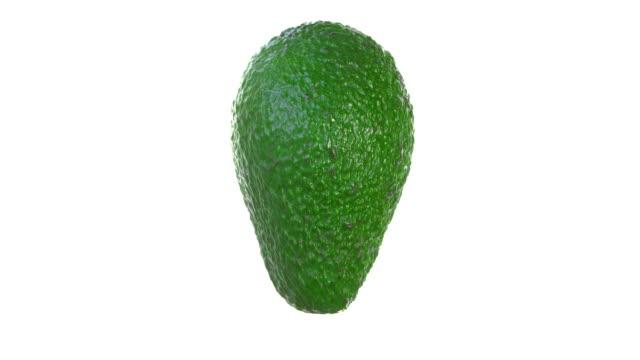 vídeos de stock e filmes b-roll de macro rotate video of avocado on a white background - abacate