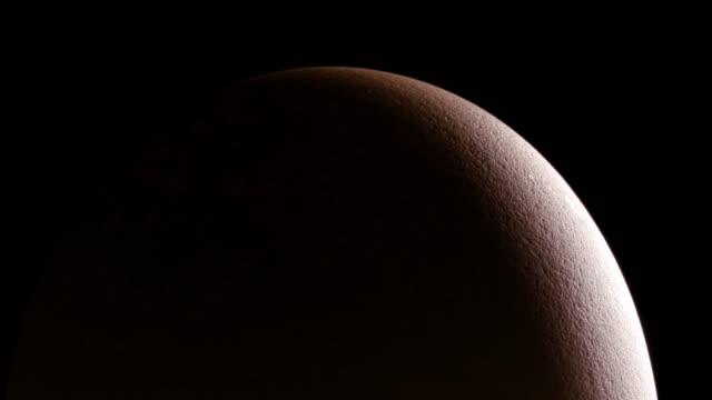 stockvideo's en b-roll-footage met macro-opnamen van een bruin ei draaien op de draaitafel. close-up weergave van een ei op de zwarte achtergrond, zacht licht en schaduwen - ei
