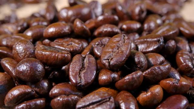 Macro shot Dark Coffee Bean with Smoke